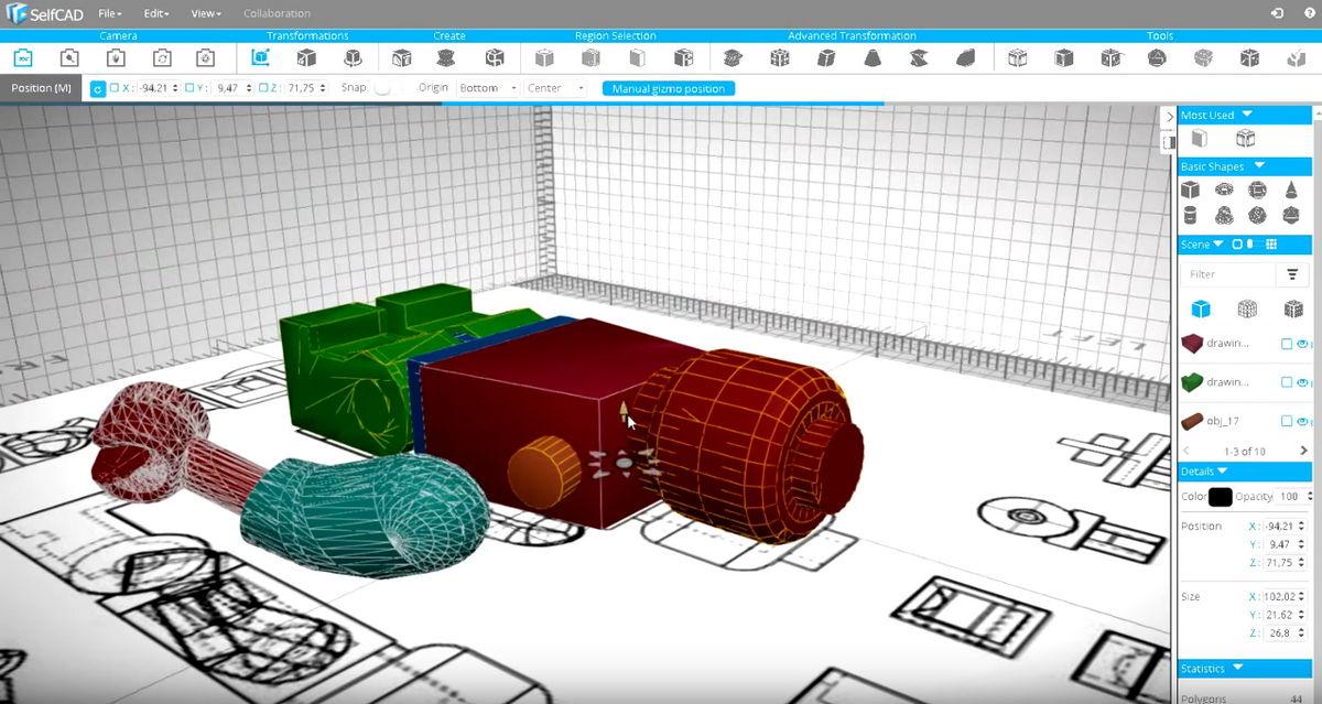 Selfcad solution de conception 3d accessible en ligne for Conception plan 3d en ligne