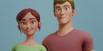Nina et Alex, deux personnages riggés pour Blender