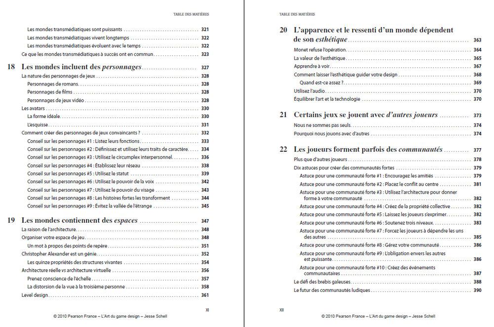 Critique l 39 art du game design de jesse schell - Exemple table des matieres ...